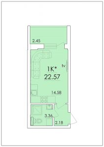 Однокомнатная квартира 22,57 м.кв.