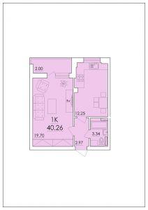 Однокомнатная квартира 40,26 м.кв.