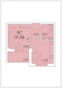 Однокомнатная квартира 31,06 м.кв.