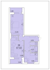 Двухкомнатная квартира 57,02 м.кв.