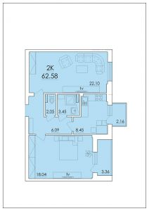 Двухкомнатная квартира 62,58 м.кв.
