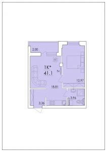 Однокомнатная квартира 41,1 м.кв.