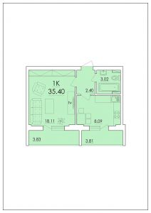 Однокомнатная квартира 35,4 м.кв.