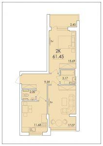 Двухкомнатная квартира 61,45 м.кв.