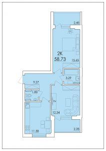 Двухкомнатная квартира 58,73 м.кв.
