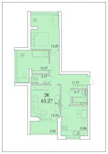 Трехкомнатная квартира 65,27 м.кв.