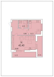 Однокомнатная квартира 42,4 м.кв.