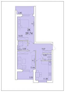 Двухкомнатная квартира 59,74 м.кв.