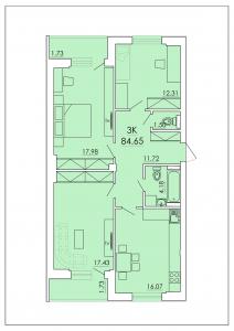 Трёхкомнатная квартира 84,65 м.кв.