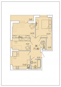 Трёхкомнатная квартира 71,80 м.кв.