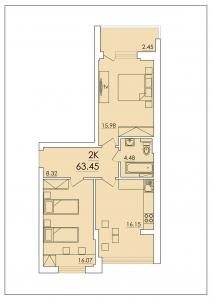 Двухкомнатная квартира 63,45 м.кв.