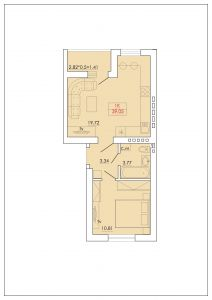 Однокомнатная квартира 39,05 м.кв.