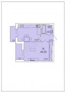 Однокомнатная квартира 44,05 м.кв.